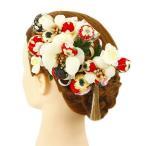 髪飾り 成人式 振袖 浴衣 卒業式 袴 結婚式 3点セット 赤 白 花 和 洋 かんざし 手作り 簪 つまみ細工 ちりめんフォーマル 花飾り 玉飾り p805