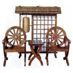 Yahoo!輸入家具のローマンディール【新商品・輸入家具】天然木使用デザインベンチチェア3点セット