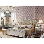 ロココ調彫刻付高級ベッド(マットレスなし)