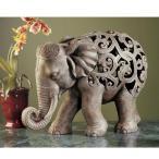 アジアンテイスト幾何学模様の置物 アンジャン・ザ・エレファント 象 ゾウ・ジャリ 彫刻 彫像/ Anjan the Elephant Jali Sculpture(輸入品