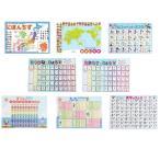 学習ポスター 8種類セット (数字 九九 日本地図 世界地図 ひらがな カタカナ 漢字 アルファベット) A3サイズ (420×297mm)