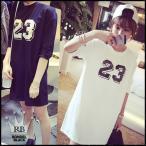 セール ワンピース ナンバー 23 かすれプリント ダメージ加工 tシャツ チュニック ワンピース ミニ丈 ダンス 衣装 黒 白 五分袖 無地 ネコポス可