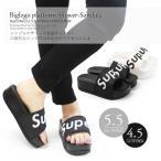 ショッピングブーツサンダル ビッグロゴ 厚底 フラットソール シャワー サンダル レディース 歩きやすい 黒 tk-16019