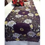 薔薇パープル 超豪華ALL カットワーク刺繍テーブルランナー 40×180cm #8210