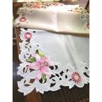 百合の花 カットワーク刺繍テーブルランナー 40×180cm #667