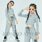 ダンス 衣装 韓国 ダンス 衣装 キッズ ガールズ トップス パンツ セットアップ チアガール ジャズダンス キッズ ダンス 衣装 グレー ヒップホップ HIPHOP