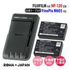 USB マルチ充電器 と FUJIFILM 富士フイルム  NP-120 【2個セット】互換 バッテリー【ロワジャパン】