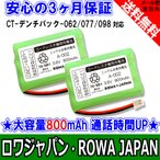 NTT CT-デンチパック-062 098 PANASONIC MHB-NA08 コードレスホン子機充電池 互換 バッテリー 2個セット ロワジャパン