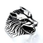 ハウリングウルフリング かっこいい大き目のリング 狼 オオカミ ウルフ 動物 パンクスタイル V系 ロック 高品質316Lサージカルステンレスリング
