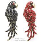 ブローチ 鳥 インコ オウム ワシ 鷲 黒 赤 ラインストーン レディース メンズ ユニセックス アニマル ブローチピン ギフト プレゼント ストーン かっこいい