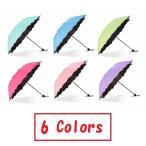 日傘 折りたたみ傘 UVカット 晴雨兼用 大判 軽量 濡れるとかわいい花柄が浮き出る傘 ヘアゴム セット  4色