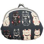 丸全 がま口財布 和柄財布 男物3.3寸がま口 招き猫クロ 0