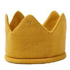 (POMAIKAI) ベビー 王冠 クラウン ニット帽 記念日 撮影 誕生日 新生児 ハーフバースディ お食い初め (イエロー)
