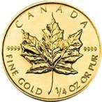 【新品未使用】【金貨】カナダ メイプルリーフ金貨 1/4オンス硬貨 1/4oz(1979年〜)「コイン」
