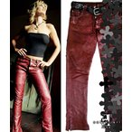 ���ե����� SofferAri �ѥå� ��� ����� ���� �쥶�� �ѥ�� PATCH LEAF AND CROSS LEATHER PANTS - PRICES STARTING FROM �쥶���ѥ��