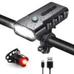 自転車 ライト led usb 充電式 モバイルバッテリー 5200mAh ヘッドライト テールライト 防水 ハンドル取り付け
