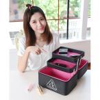 3CE メイクボックス 化粧箱 化粧ポーチ 鏡付き 持ち運び メイクBOX メイクアップ トラベルバッグ アルミニウムPU