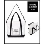 OPENING CEREMONY オープニングセレモニートートバッグ 2way ショルダーバッグ おしゃれママバッグ 大容量 A4  刺繍ロゴバッグ ジップオープン