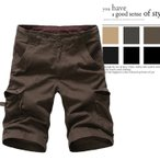 ショートパンツ ハーフパンツ メンズ 無地 カーゴパンツ 綿100% アウトドア 五分丈 夏 大きいサイズ カジュアルの画像