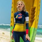 ラッシュガード レディース 長袖 日焼け防止 切り替え ストレッチ 体型カバー UVカット 薄手 サーフィン ウェットスーツ おしゃれ 水着