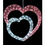 ショッピングクリスマス 耐水60cm110球広角型LEDホワイトピンクグローハート/常点灯パワーコード付き
