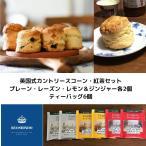 送料無料 カントリースコーン 紅茶セット 英国式スコーン 冷蔵便 プレーン・レーズン・レモン&ジンジャーx各2個 紅茶ティーバッグ6個