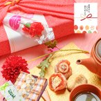 内祝 母の日 スイーツ ギフト プレゼント 和菓子 お取り寄せ 誕生日 食べ物 /  栗福柿 焼き栗きんとん 白川茶 風呂敷包みセット