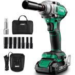 KIMO 電動レンチ コードレスインパクトレンチ 自動車 タイヤ交換 ホームメンテナンス ホイール交換 QM-3601 20V 2.0Ah LEDライト付き PSE認証済み 敬老の日