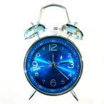 目覚まし時計 青 ツインベル ミッドセンチュリーモダンレトロ時計