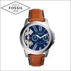 フォッシル/FOSSIL メンズ 時計 (ME1161)ネイビー×シルバー/ブラウンレザー/GRANT グラント/