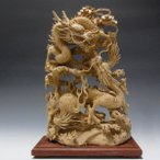柘植製 細工極み彫り双龍 /木彫り 一刀彫 木彫