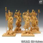木彫り 仏像 金彩四天王 高さ12.5cm 柘植製