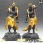 古色仁王像 金剛力士像 57cm 楠 木彫り 仏像
