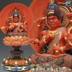 彩色愛染明王 坐像 高さ34cm 楠 木彫り 仏像