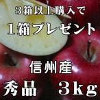 サンふじりんご 3kg6玉〜12玉 秀品 信州産 お歳暮 人気 長野サンふじ りんご 期間限定3箱以上購入の場合1箱おまけ付