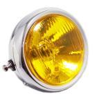 SUZUKI スズキ GN125H ヘッドライト メッキ ハロゲンバルブ 透明 イエローレンズ 他車流用にも