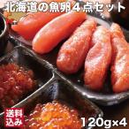 北海道 魚卵 4点セット 120g×4 ( たらこ 明太子 いくらしょうゆ漬け 筋子しょうゆ漬け ) 噴火湾 鹿部町 小分 無添加 国産 丸鮮道場水産 送料無料