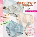 サニタリーショーツ セット 3枚セット ジュニア キッズ ミドル かわいい 綿 コットン パステルカラー ポケット付き