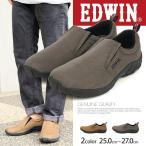 EDWIN カジュアル スリッポン スニーカー メンズ ローカット モック グレー ベージュ 通学シューズ 靴 紳士 スポーツ ED-7030