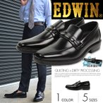 EDWIN ビジネスシューズ メンズ 防水 防滑ソール ビット スリッポン 黒 3e 通勤用 紳士靴 歩きやすい オフィス 仕事 EDW-7732
