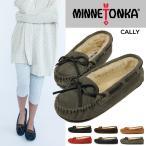 MINNETONKA CALLY SUEDE SLIPPER 本革 キャリー スエード スリッパ ファー モカシン ボア レザー フラットシューズ カジュアル ぺたんこ靴