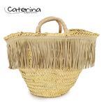 Caterina Bertini カテリナ ベルティーニ 01/M ミディアム フリンジ グログランリボン かごバッグ カゴバッグ ハンドバッグ トートバッグ カラーNAT/512