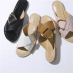 500円OFFクーポン対象!18日限定★CORSO ROMA コルソローマ B/456 カラー4色 レザー クロス フラットサンダル 靴 レディース