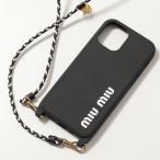 MIUMIU ミュウミュウ 5ZH138 2CIU RUBBER COLOUR iPhoneケース iPhone12/12Pro専用ケース ロゴ ラバー ネックポーチ F0967/NERO+BIANCO レディース