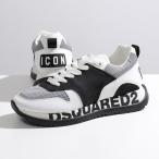 DSQUARED2 ディースクエアード SNM0213 01503280 Running Sneakers レザー ローカット スニーカー ロゴ ICON シューズ 靴 M063/BLACK+WHITE メンズ