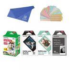 ポラロイドカメラ Fujifilm Instax Mini Instant Film 4-PACK BUNDLE SET , SKY BLUE 10 + Black Frame 10 + Monochrome 10 + Twin 20 + Original Cleaning