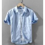 シャツ メンズ リネンシャツ 半袖 夏 綿麻 サマー 麻シャツ カジュアル 麻混シャツ 紳士 2020