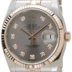ショッピングロレックス ロレックス ROLEX 116231 G-GY デイジャスト ダイヤモンド10P グレー×ピンクゴールド メンズ腕時計 116231 ブランド