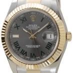ロレックス ROLEX デイトジャストII 116333 GY-GNR グリーンローマ グレー×ゴールド メンズ 腕時計