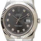 ロレックス ROLEX 116334 G-DGY デイトジャストII ダイヤモンド10P グレー×シルバー メンズ 腕時計 ブランド
